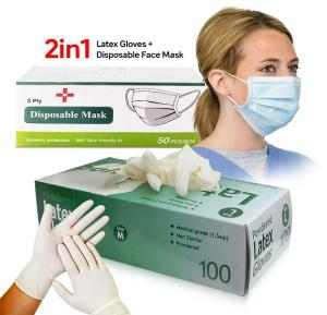 2 in 1 Bundle Kit, High Quality Latex Gloves (100 Pieces per Box) - Medium With Disposable Face Mask 50 Piece
