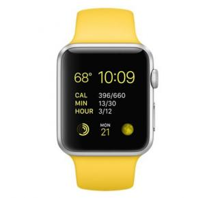 Apple iWatch MMFE2 42MM Silver Aluminium Case With Yellow Sport Band