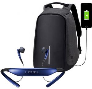 2 IN 1 Anti-Theft Backpack with USB Port And Level Wireless Bluetooth Neckband Headset with Mic