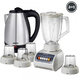 2 In 1 Geepas Litre Stainless Steel Electric Kettle 1.8 L And HTC 5 in 1 Blender 1.5 Liters Plastic Jar with 4 Speed 250 Watts