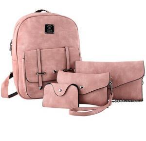 Womens stylish backpack set, 4 pcs ACE-2 Pink