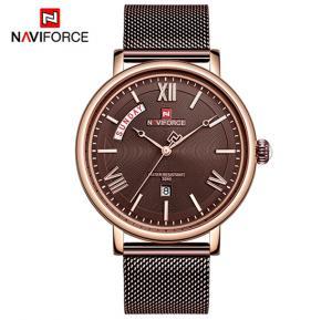 Naviforce NF3006 Quartz Fashion Luxury Watch for Men- Brown
