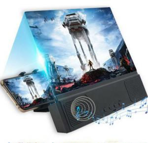 12 inch Mobile Phone Screen Amplifier, Phone Bracket with Bluetooth Speaker Big Screen Audio