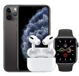 3 IN 1 Smart Bundle , Apple iPhone 11 Pro With FaceTime Space Gray 64GB 4G LTE With Apple Watch Series 5 44mm MWVF2 -Space Grey And Apple AirPods Pro Wireless Earphones White