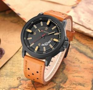 Curren Analog Casual Leather Fashion Watch For Men, 8228, Brown