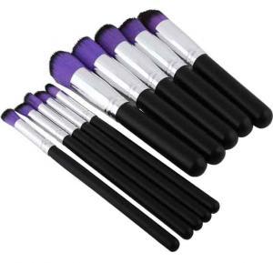 Make up brush set of 10 pcs Black & purple
