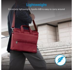 Promate Messenger Bag Laptop, Multifunction Shoulder Messenger Bag with Multiple Storage Pocket, Detachable Sling and Water-Resistance Laptop Bag for 15.6 Inch Laptops, Tablet, Document, Apollo-MB Red