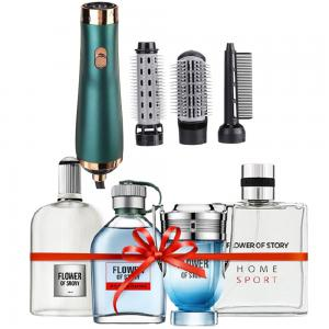 2 In 1 Flower of Story Perfume gift set, 25ml x 4 Piece, PCP01 And 3 in 1 Hot Air Brush Styler with Dryer and Combo