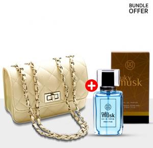 2 in One Fashion Kit, Quilted Mini Shoulder Bag with Ruky Musk 100 ML Perfume