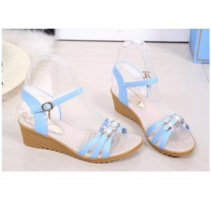 Vtota Rhinestone Sandals for Women -light blue size-39