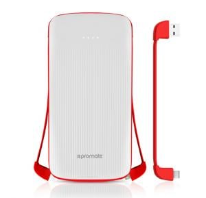 Promate Power Bank with USB Type C, Lightning and Micro USB Built In Cables, 10000 mAh Ultra Thin Portable Charger, PolyMax-UNI.WHITE