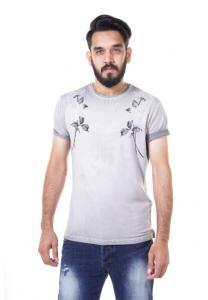 Kenyos Short Sleeve T-Shirt For Men Army Light Gray NAABF31680X - M