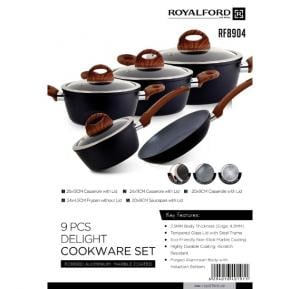 Royalford 9Pc Delight Cookware Set-MarbleCotd  - RF8904