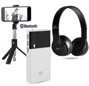 3 in 1 combo Offer Spass X9 Fast Charging 20,000 mAh Power Bank with Multi Color Foldable P47 Wireless Bluetooth Headset And  2 in 1 Wireless Bluetooth Tripod Selfie Stick