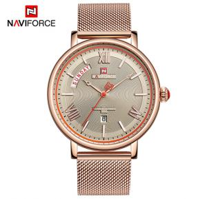 Naviforce NF3006 Quartz Fashion Luxury Watch for Men- Rosegold