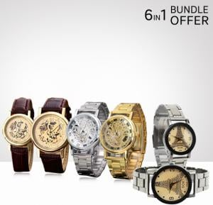 6 in1 Stylish Couple Watch Bundle