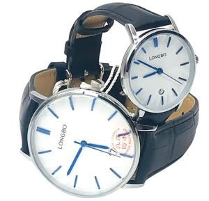 Longbo Couple Watch Leather Band Black