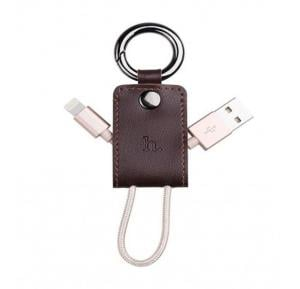 Hoco Micro Key Chain Portable Charging Cable ,Brown(Gold Line),Upm19