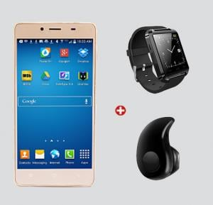 Bundle Offer! Kagoo T50 Smartphone, 3G, Android, 5.0 Inch LCD Display, 4GB Storage, 512MB RAM, Dual Camera, Dual SIM, Wifi - Gold & Get OEM Bluetooth Smartwatch + Esonstyle Z 530 40 Mini Ultra-small Stereo Bluetooth Earbud FREE