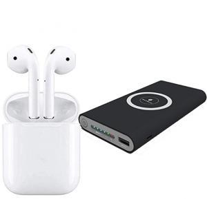 2 in 1 Combo Offer Qi Certified 10000mAh 3 in 1 Wireless Power Bank with I12 TWS Bluetooth Earphone Pop-up Wireless Earphones