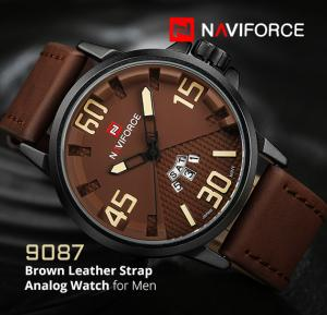 Naviforce NF9087 Brown Leather Strap Analog Watch For Men