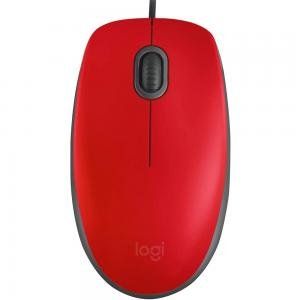 Logitech M110 Silent Full Size Comfort Mouse, Red