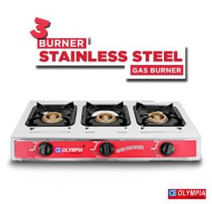Olympia  3 Burner Stainless Steel Gas Burner, OE-055
