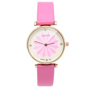 Langar Lotus Design Thin Leather Strap Leather Watch For Women - Pink