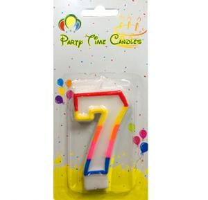 Party Time Number Candle Small 7 M028
