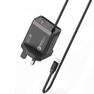 Promate iPhone Charger, Fast Charging 20W Power Delivery Wall Charger with 1.5m Lightning Cable, iCharge-PDQC3-UK, Black