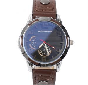 Swissmark Analog Trendy Sports Leather Watch For Men,Dark Brown,SMW111