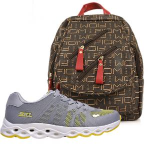 2 in 1 Fashion Womens Fashion Bundle, SKL Non Stop Ladies Sports Shoe, Gray, Ladies Back Pack Bag Assorted -233201