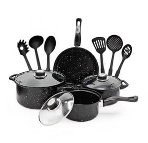 Olympia 13 pcs Non-Stick Black Cookware Sets - OE-005-13