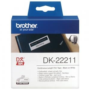 Brother DK22211 Continuous Film Label Roll 29mm Black on White