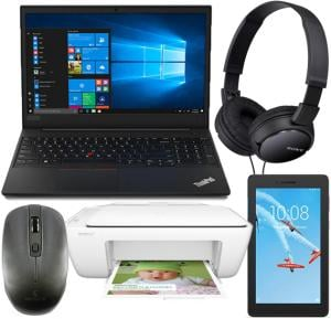 5 IN 1 Laptops Bundle , Lenovo E590 Intel Core, I3 8145U, 4GB Ram, 1TB HDD 15.6 inch Display, Dos-Black With Lenovo Tablet, Android WiFi 8GB 1GB- black And Genuine Mouse M7097 Wireless Grey,Sony MDR-ZX110 Headphone , HP Deskjet 2130 All-in-1 Printer