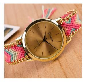 Generic Geneva New Ladies Handmade Braided Fashion Bracelet Watch - Pink