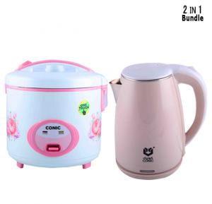 Combo Pack ,Conic Rice Cooker 2.2 LIter 900W CON-50X-S & Conic Electric Kettle 0.28mm 2.2 Liter