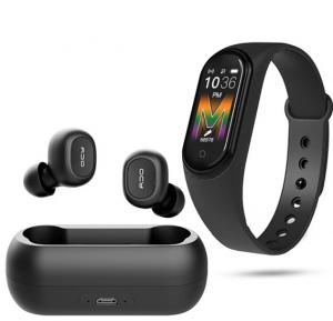 2 in 1 Combo Offer QCY T1 5.0 TWS Earbuds Mini Wireless Bluetooth Stereo Mini HiFi Earphones With M5 Smart Sports Bracelet Fitness Band Assorted colors