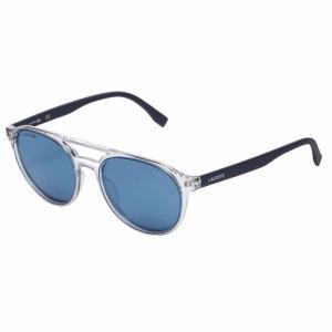 Lacoste L881S Transparent Round Sunglasses For Unisex Blue Lens, Size 52