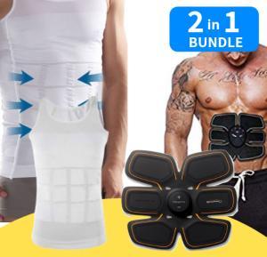 2 in  1 bundle Six Pack ABS Simulator + Slim N Lift Slimming Shirt For Men
