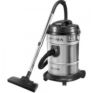 Optima 25.0L Drum Vacuum Cleaner Dry Clean Steel Body 2400W Black Silver, VC2500