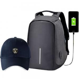 2 In 1 Anti-Theft Backpack with USB Port And OSP Mens Cap Assorted Color, SMD005