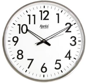 Ajanta Quartz Wall Clock , White Dial and Silver Rim