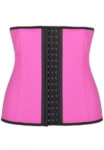 AKM Latexrubber Waist Training Cincher Corset For Women-Pink Free size