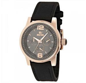 Mewa Mens Black Dial Leather Band Watch 6038F54