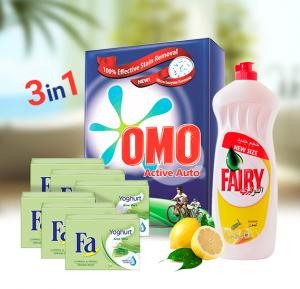 3 In 1 Bundle Offer Fairy Lemon Dishwashing Liquid 750ml + 6 Pieces Fa Soap Yoghurt Aloe Vera 175gm + OMO Active Auto Fabric Cleaning Powder 2.5kg