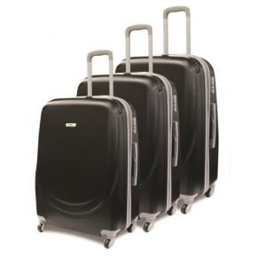 Traveller Abs 4 Wheel Trolley Set 20, 24 and 28 Inch - Black