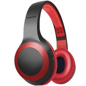 Promate Bluetooth Headphone, Over-Ear Deep Bass Wired/Wireless Headphone with Long Paytime, LABOCA.RED