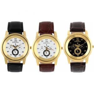 RMADA Leather Strap Watch Set of 3 Pieces, Assorted Color