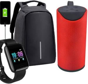 3 in 1 Bundle Pack Anti-Theft Backpack, Smart Watches and Wireless Bluetooth Speaker